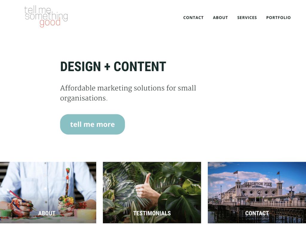 Tell me something good company website screenshot