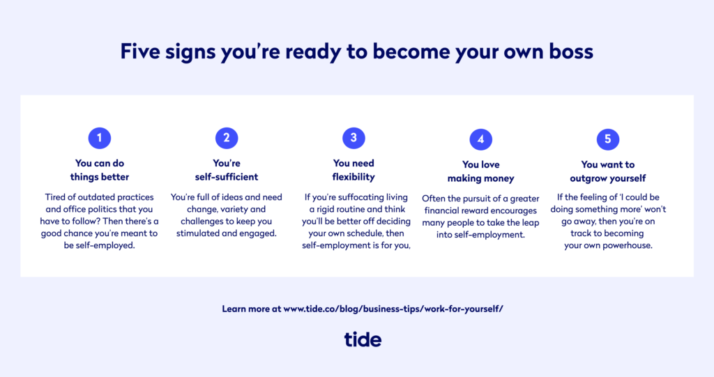 Five signs you are ready to become your own boss and work for yourself
