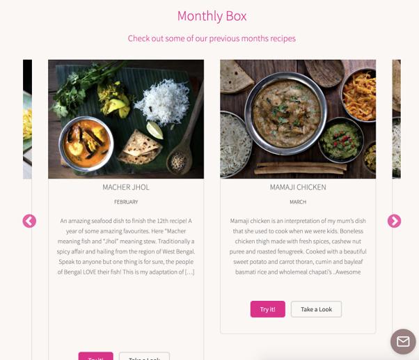 The Kari Club food delivery website screenshot