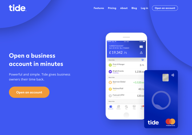 Tide Business Banking website screenshot