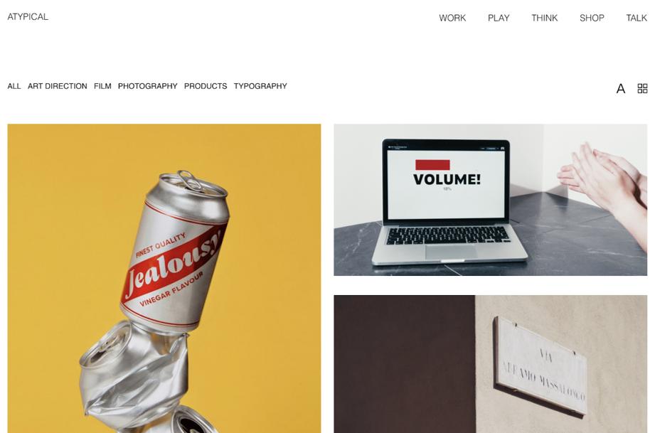 Screenshot website Atypical Studio