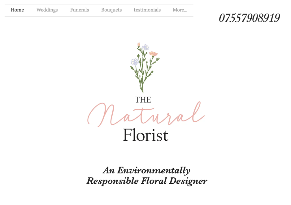 Screenshot The Natural Florist Website