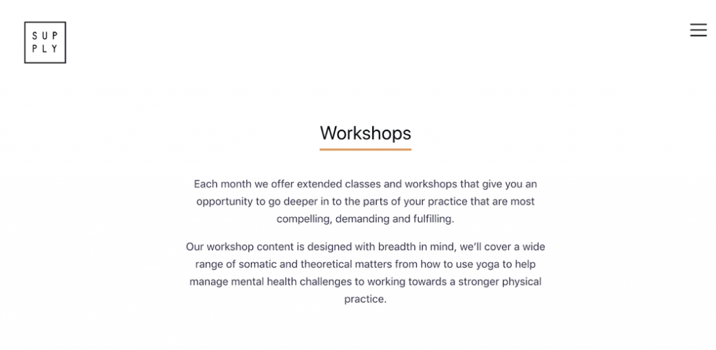 Screenshot Supply Yoga website