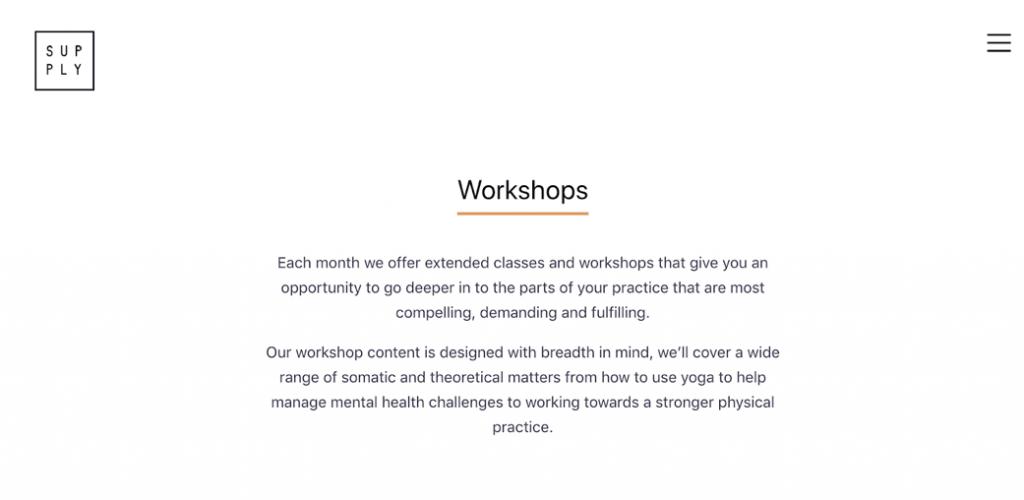 Screenshot Supply Yoga website