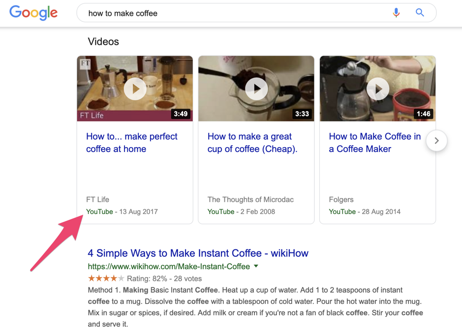 Video content in Google search results