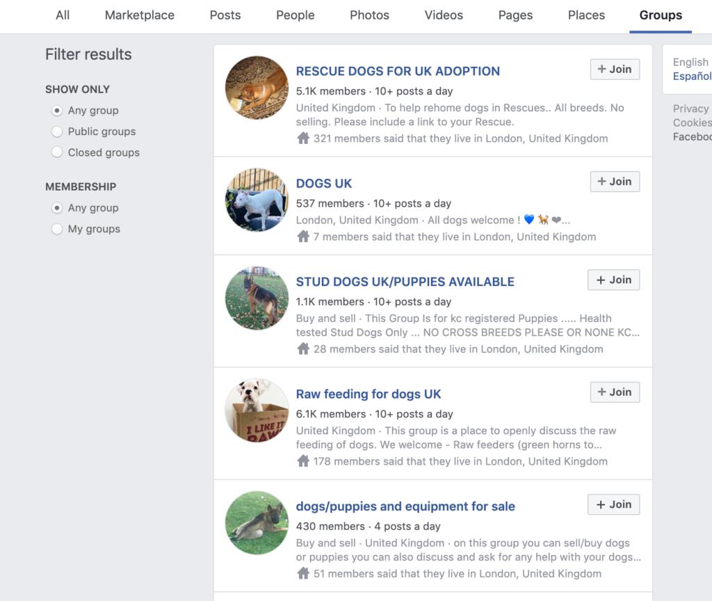 Screenshot Facebook Groups