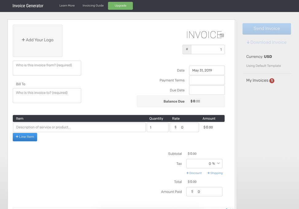 Screenshot Invoice Generator Dashboard