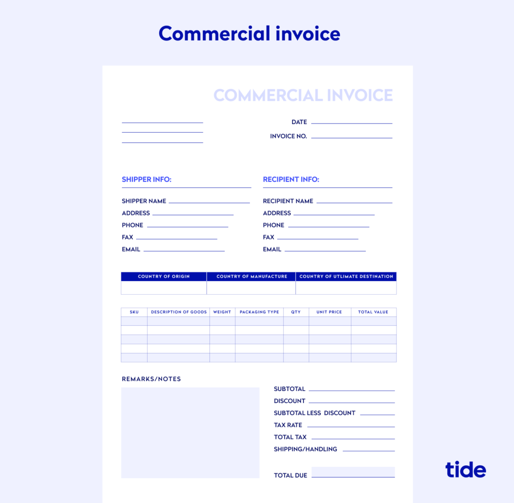 An example of a commercial invoice
