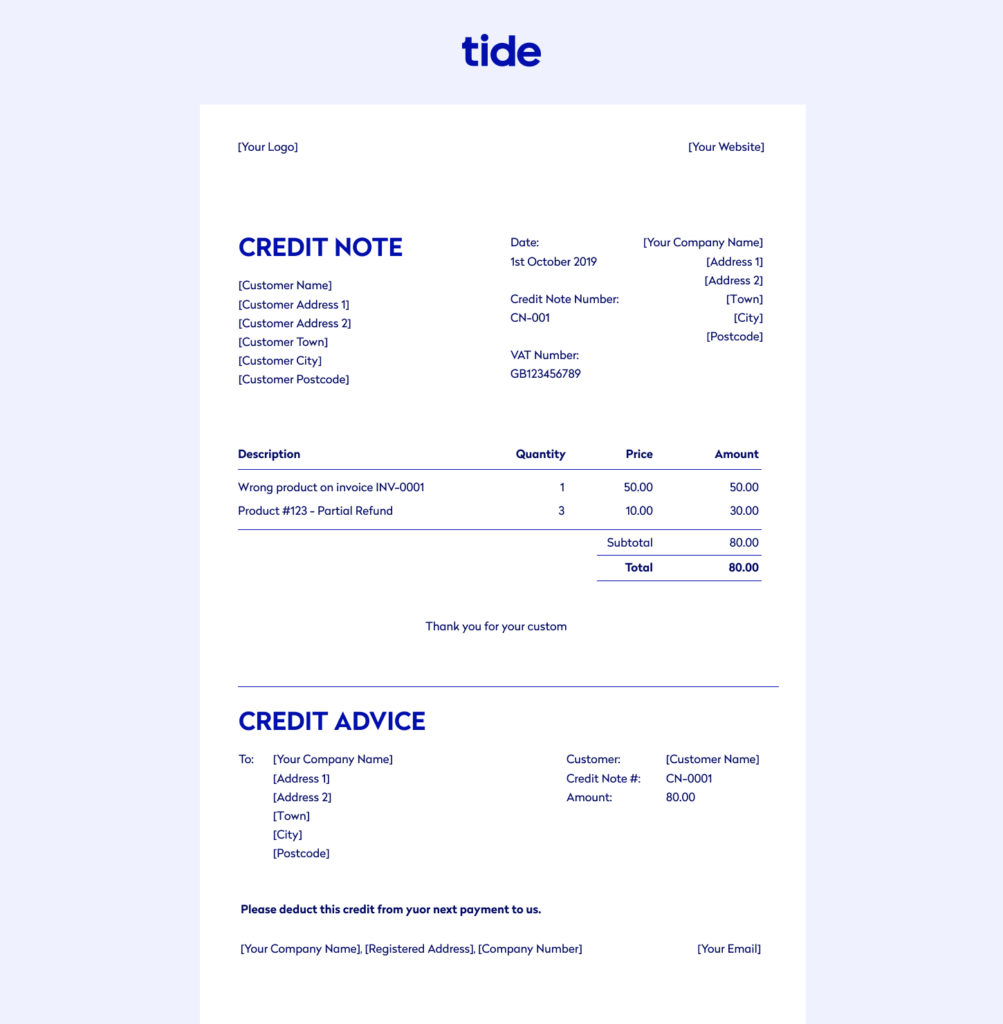 An example of a credit invoice