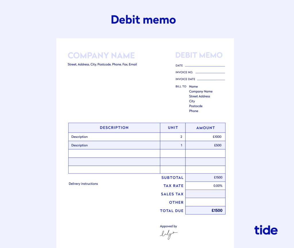 An example of a debit memo