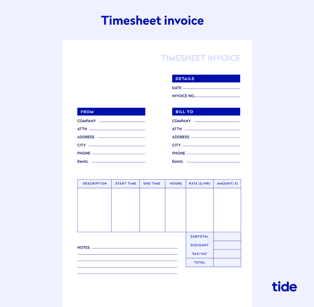 An example of a timesheet invoice