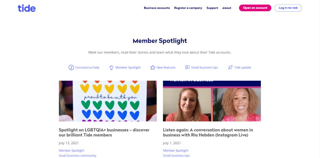 Screenshot Business Storytelling - Member Spotlight on tide.co
