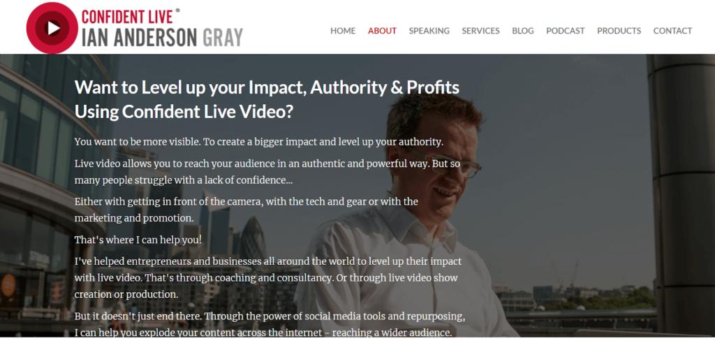 Screenshot Ian Anderson Gray website