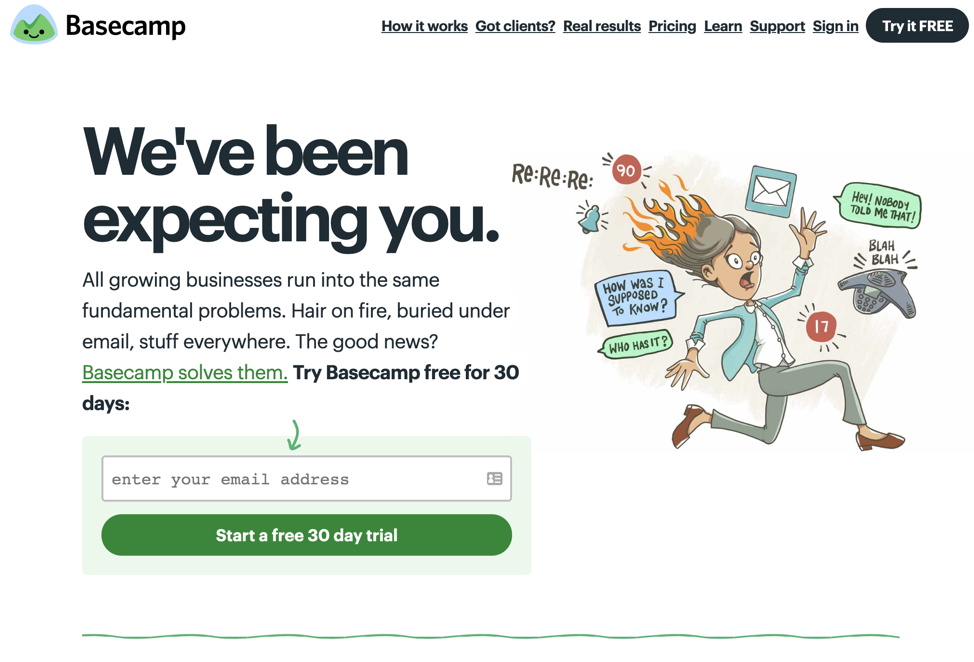 Screenshot Basecamp Home Page