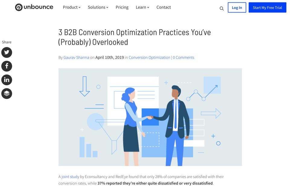 How to Start a Business - Screenshot Unbounce Blog Post