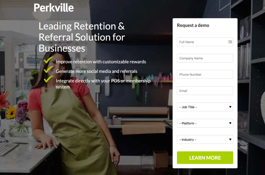 How to Start a Business - Perkville Landing Page Screenshot