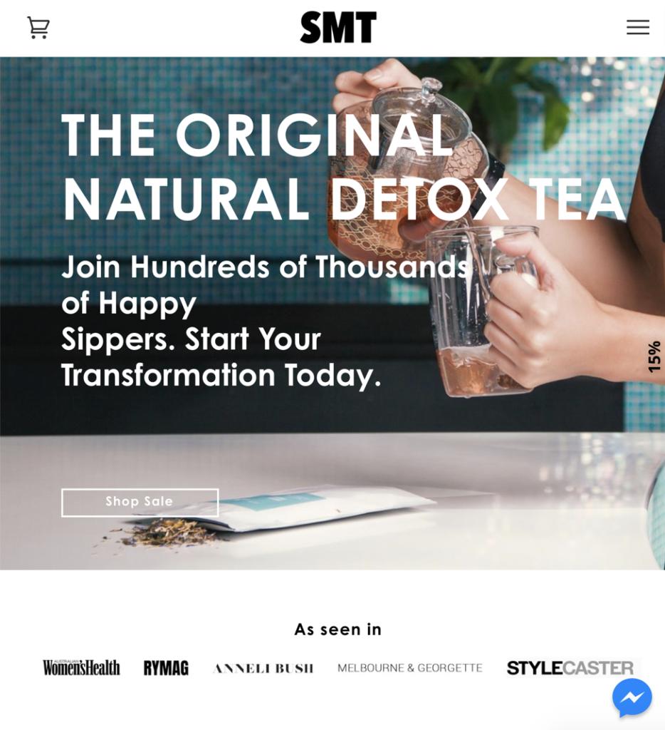 Screenshot of Skinny Me Tea company website