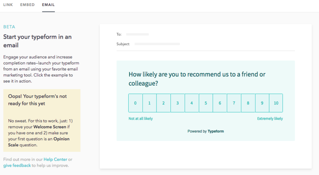 Typeform email example for marketing strategy