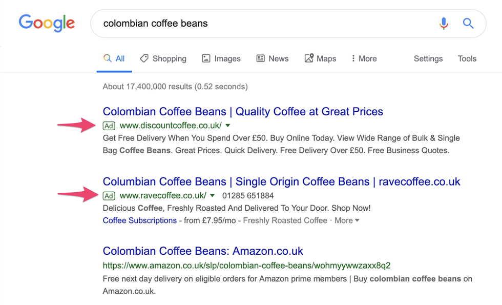 Example Google search results paid ads