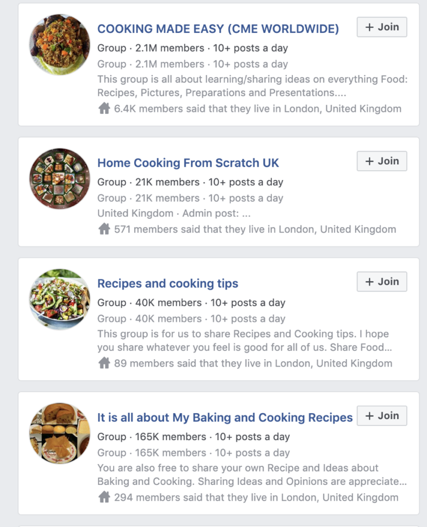 Facebook Group Examples