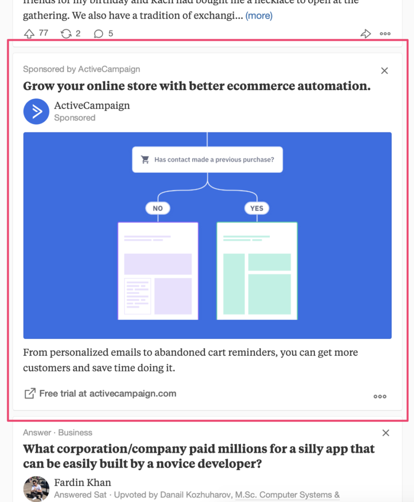 Example of a Quora ad