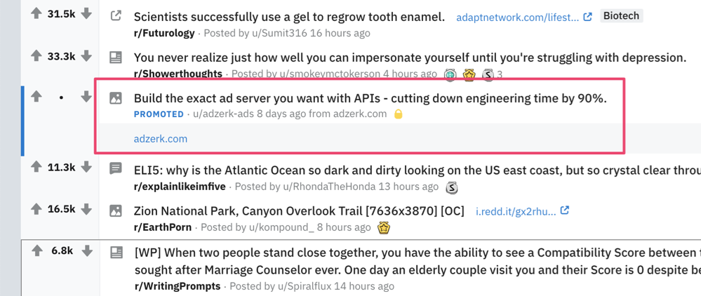 Example of a Reddit ad