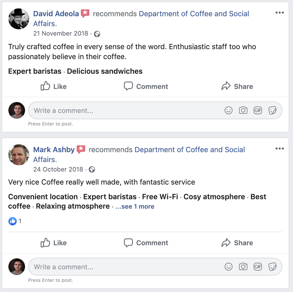Competitive Analysis - Facebook Reviews