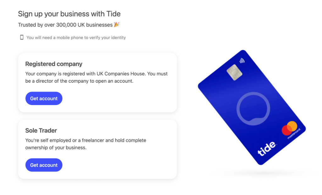 Business Current Accounts - Tide Home Page