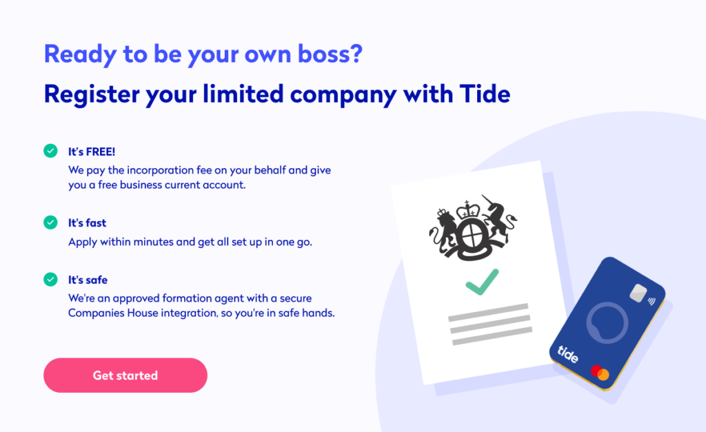 Register your business for free with Tide