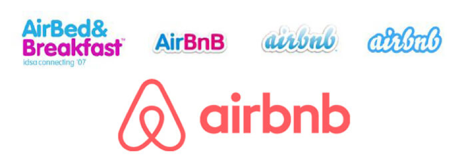 Airbnb logos throughout the years