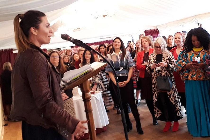 Sarah Young addresses the f:Entrepreneur breakfast for International Women's Day