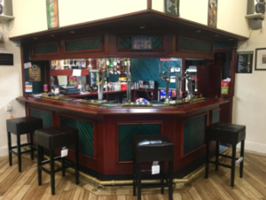 The bar at Whitefield Bowling Club