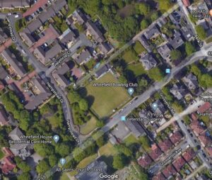 Whitefield Bowling Club, shown on Google Earth satellite map