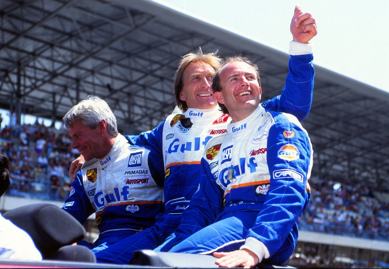 Robin Donovan (right) with Jurgen Lassig and Derek Bell MBE, his fellow team drivers at Le Mans 24-hour race in 1994