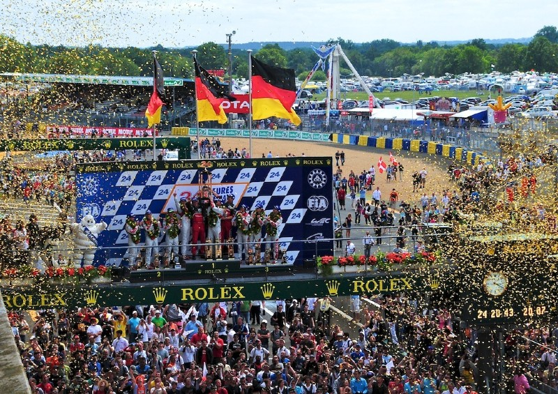 Podium celebrations at the '24 Hours of Le Mans' race