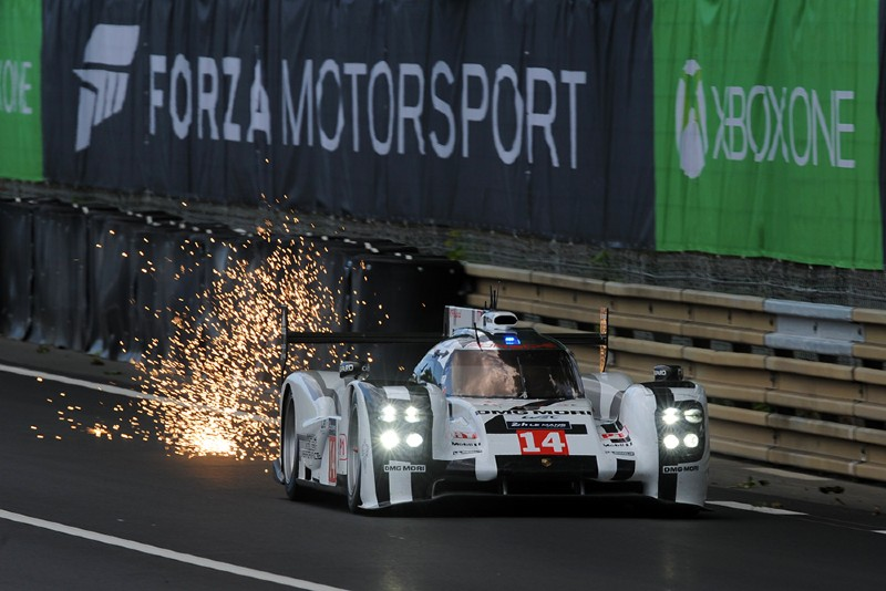 Sparks fly from a car during the Le Mans 24-hours race