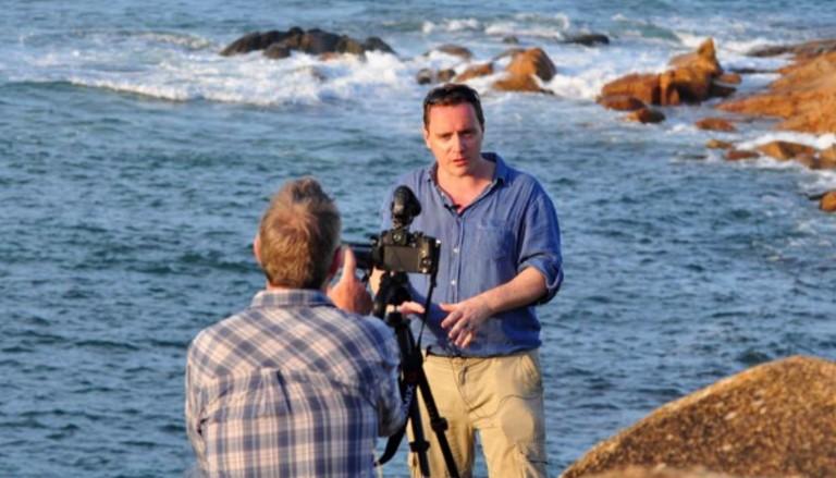 Dr Haydon Mort filming with Prof Iain Stewart