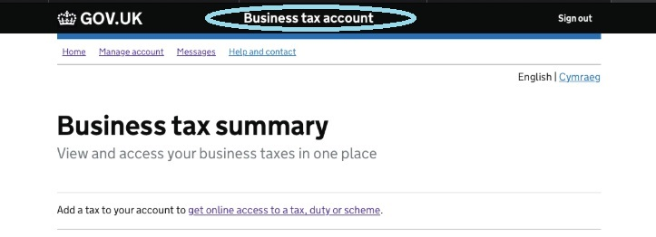 Screenshot - HMRC Gateway - Business tax account