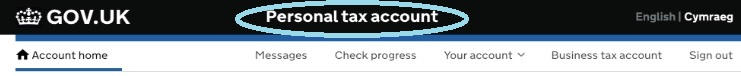 Screenshot - HMRC Gateway - Personal tax account
