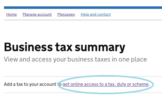 Screenshot - HMRC Gateway - Get online access