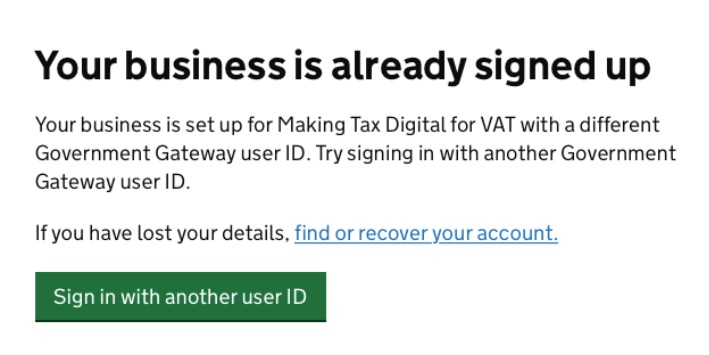Screenshot - HMRC Gateway - Already signed up