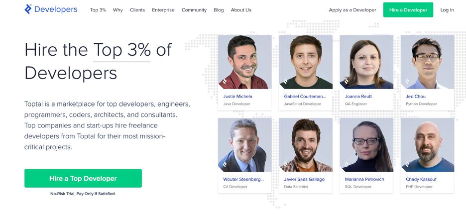 Screenshot of the Developers job board