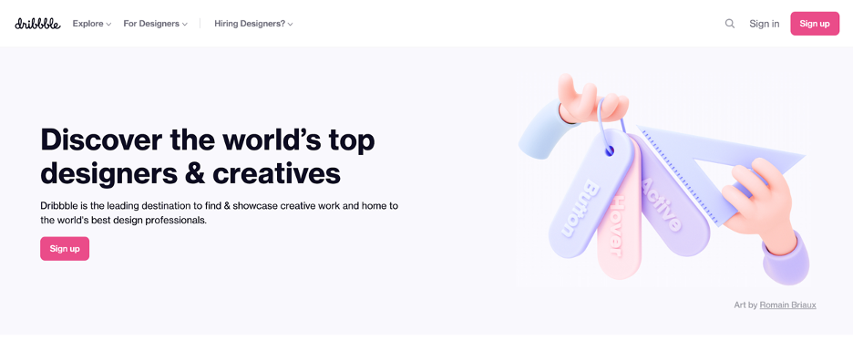 Screenshot of the Dribbble job board