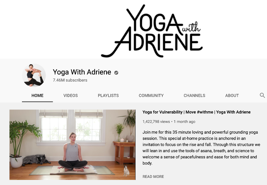 Yoga YouTube channel offering classes