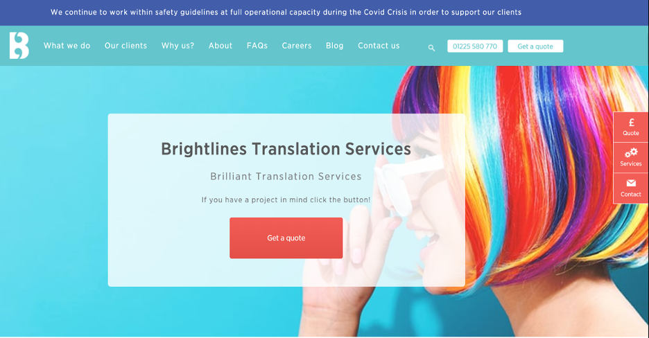 Landing page for translation services