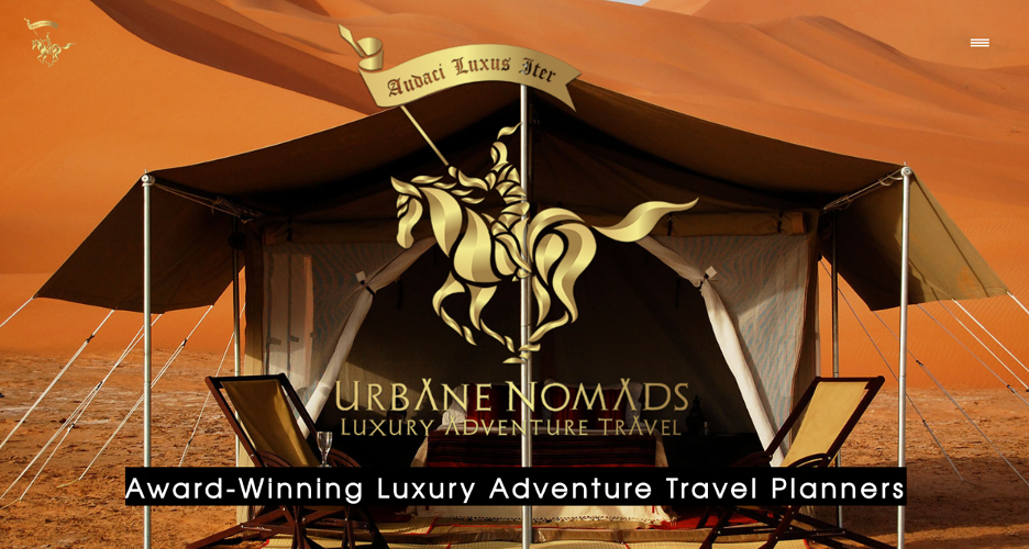 Landing page for luxury travel services