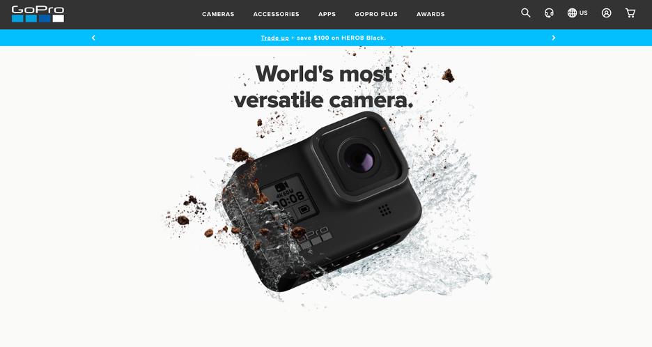 Screenshot of the GoPro website