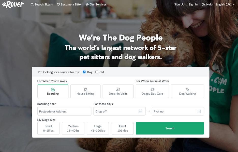 Screenshot of online dog walking service