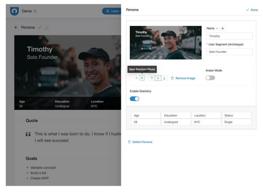Screenshot of a buyer persona builder from UserForge