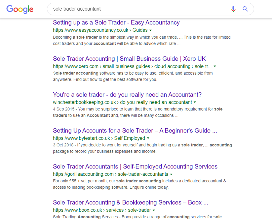 Screenshot of Google search result